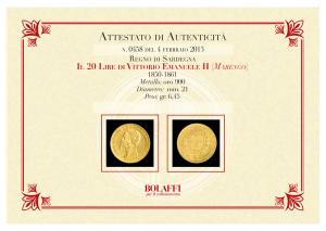 Certificato 20 Lire Vittorio Emanuele