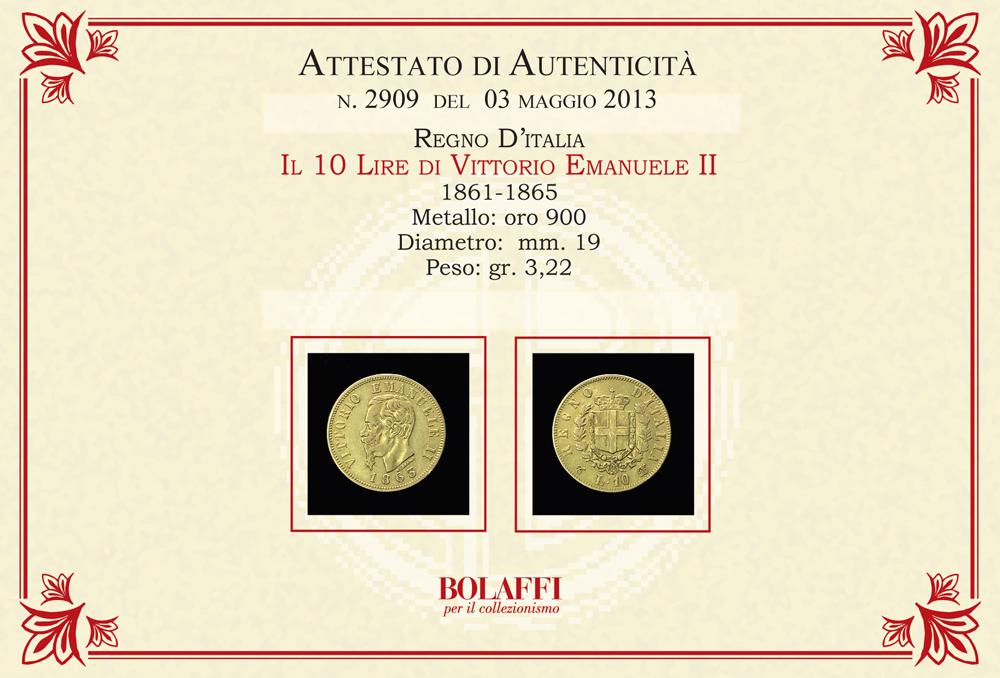 Certificato 10 Lire Vittorio Emanuele II